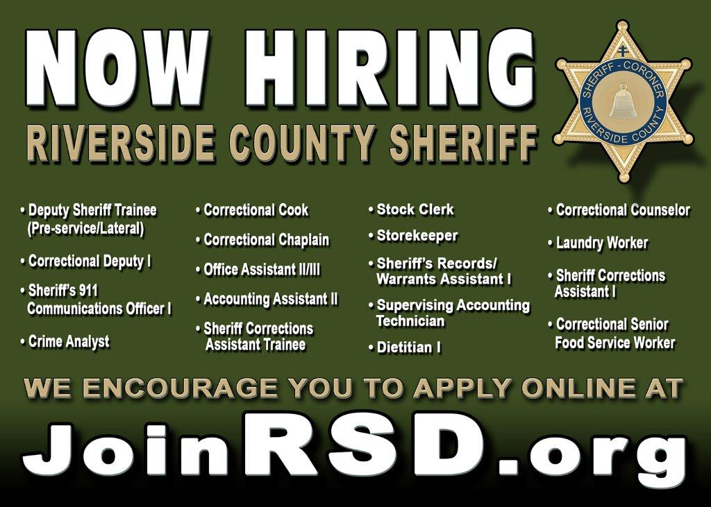 Riverside county sheriff is now hiring business mixers and events job 99 join rsd now hiring 5 x 7 card 4 25 colourmoves