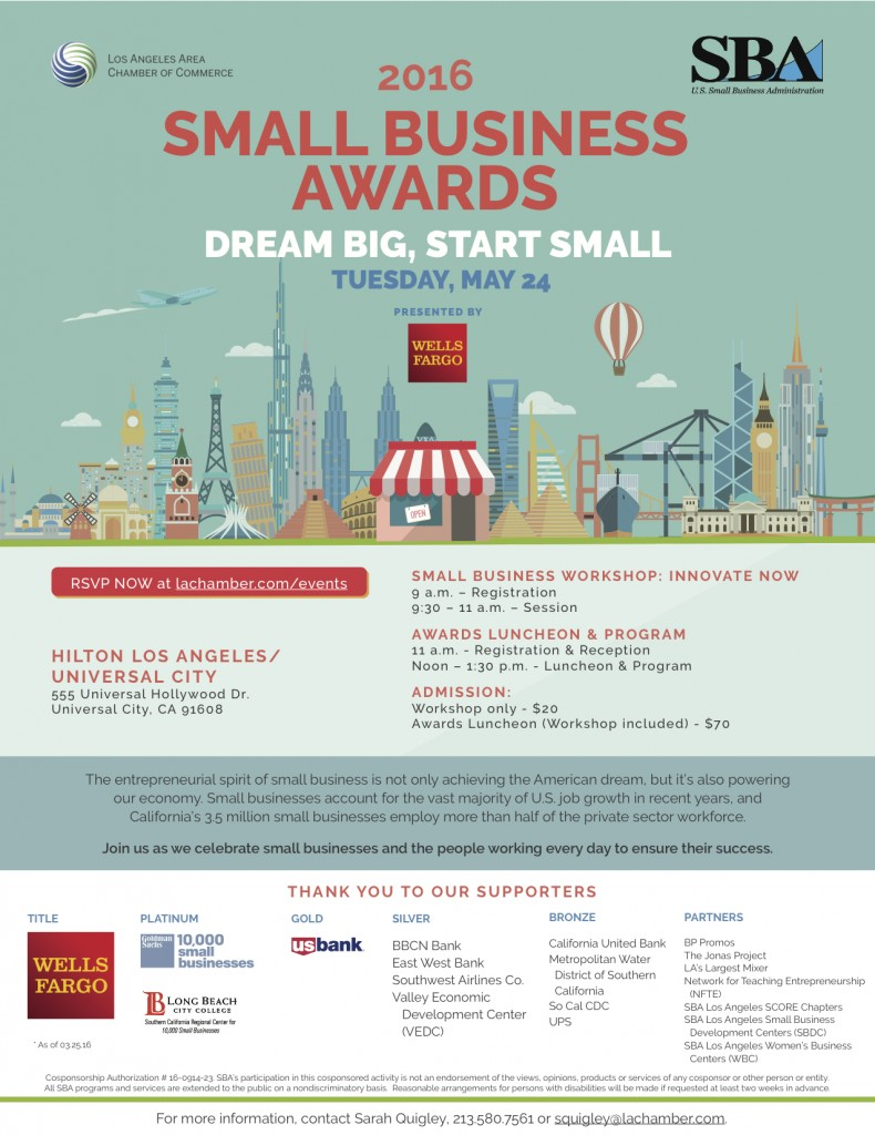Los Angeles Area Chamber 2016 Small Business Awards