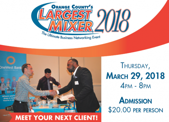 Save the Date! OC's Largest Mixer - March29, 2018
