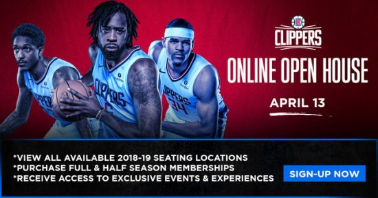LA Clippers Invite You To Online Open House - 4/13/18