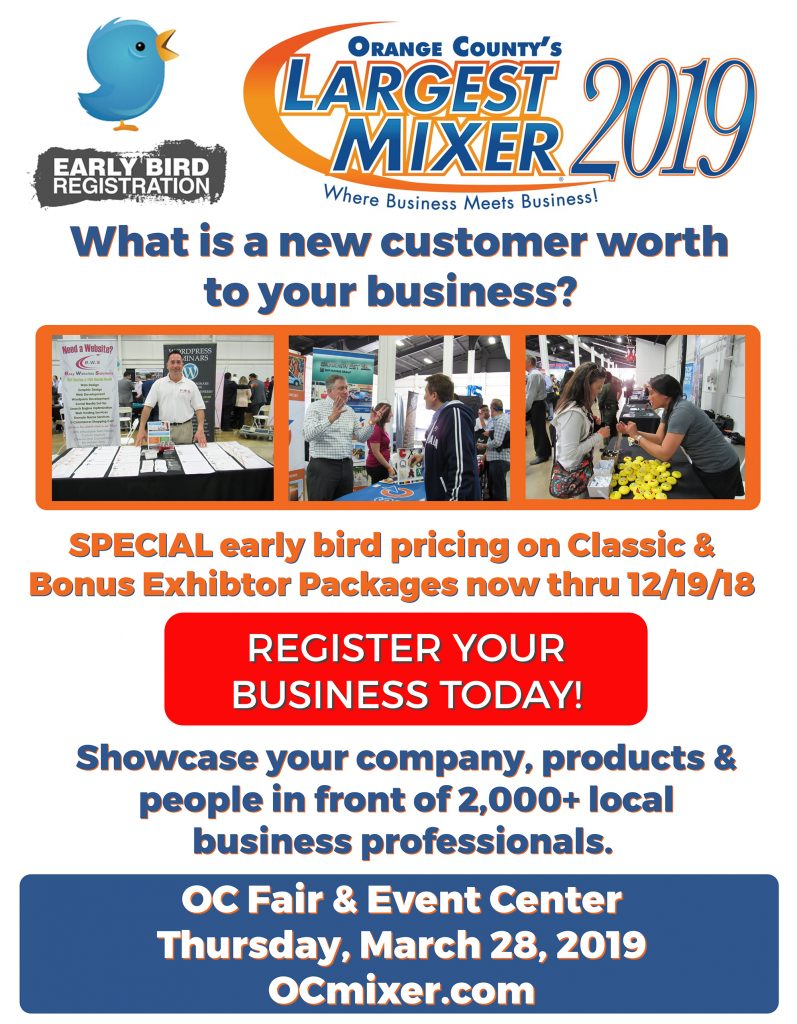 Special Early Bird Pricing for the 2019 OC Mixer