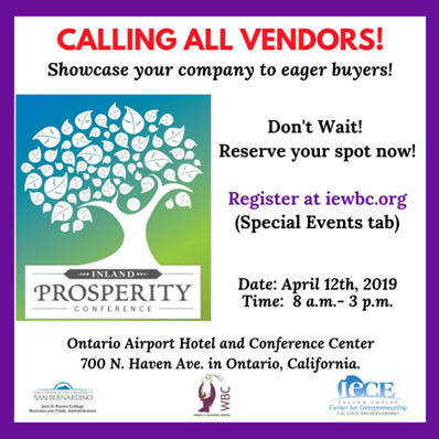 IEWBC Presents the 7th Annual Prosperity Conference - April 12, 2019